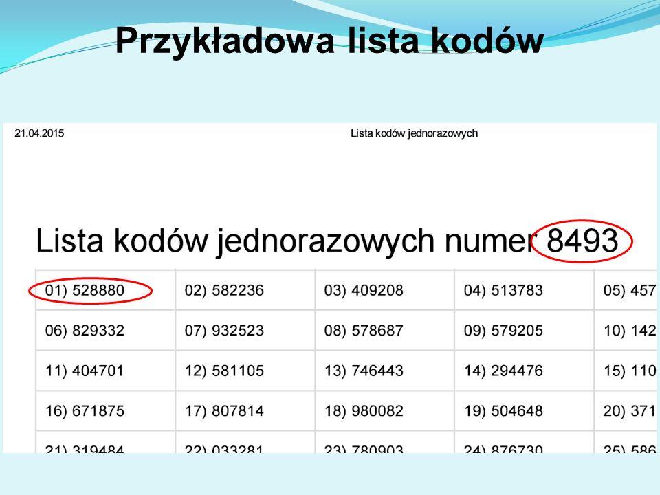 Przykładowa lista kodów