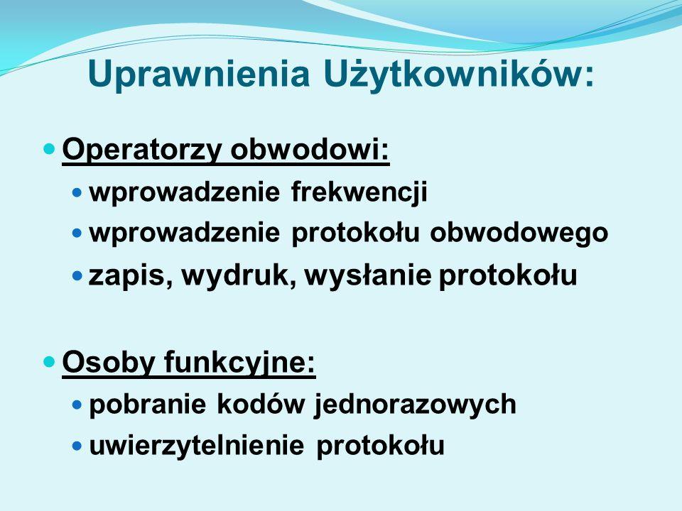 Uprawnienia Użytkowników: Operatorzy obwodowi: wprowadzenie frekwencji wprowadzenie protokołu obwodowego zapis, wydruk, wysłanie protokołu Osoby funkcyjne: pobranie kodów jednorazowych uwierzytelnienie protokołu