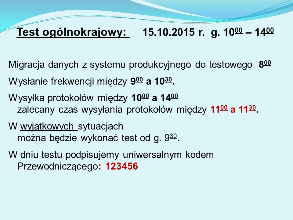 Test ogólnokrajowy: 15.10.2015 r. g.