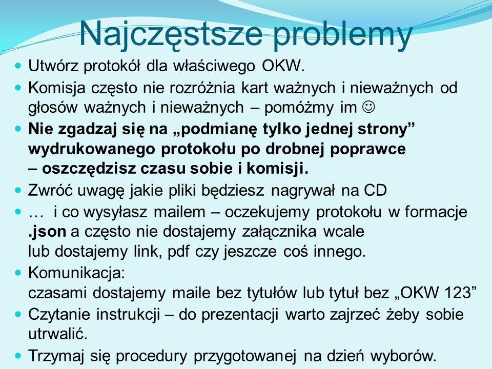 Najczęstsze problemy Utwórz protokół dla właściwego OKW.