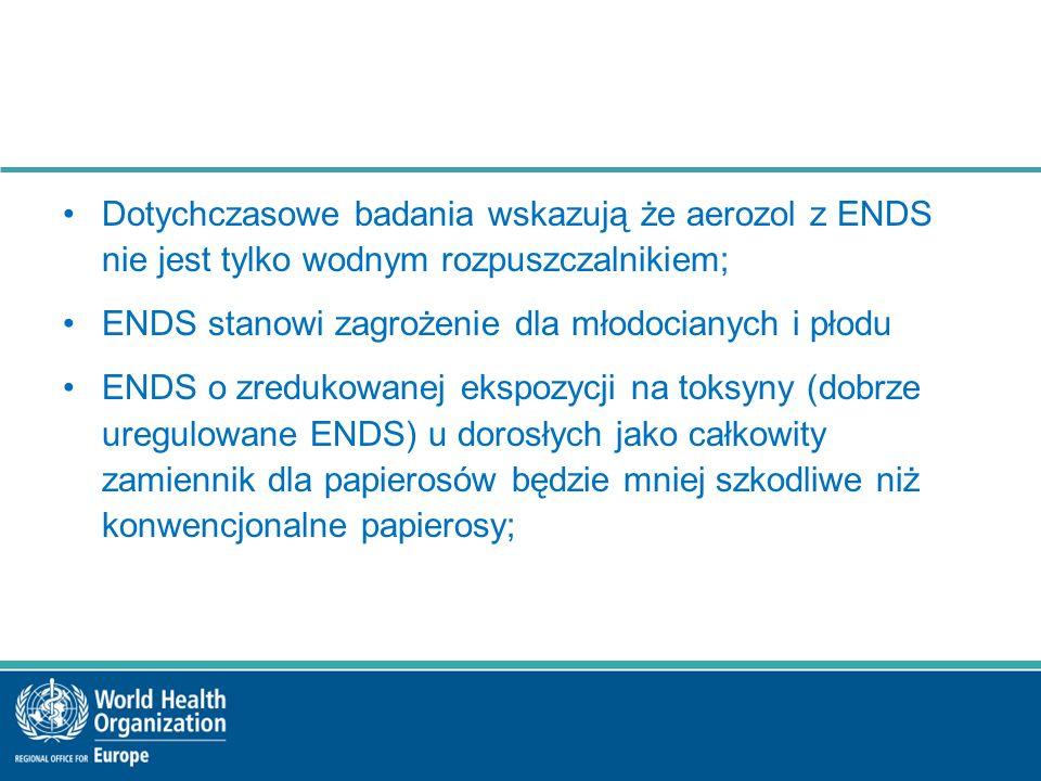 Dotychczasowe badania wskazują że aerozol z ENDS nie jest tylko wodnym rozpuszczalnikiem; ENDS stanowi zagrożenie dla młodocianych i płodu ENDS o zredukowanej ekspozycji na toksyny (dobrze uregulowane ENDS) u dorosłych jako całkowity zamiennik dla papierosów będzie mniej szkodliwe niż konwencjonalne papierosy;