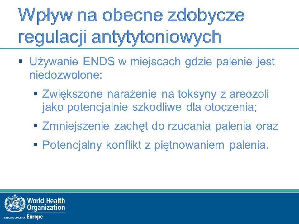 Wpływ na obecne zdobycze regulacji antytytoniowych  Używanie ENDS w miejscach gdzie palenie jest niedozwolone:  Zwiększone narażenie na toksyny z areozoli jako potencjalnie szkodliwe dla otoczenia;  Zmniejszenie zachęt do rzucania palenia oraz  Potencjalny konflikt z piętnowaniem palenia.