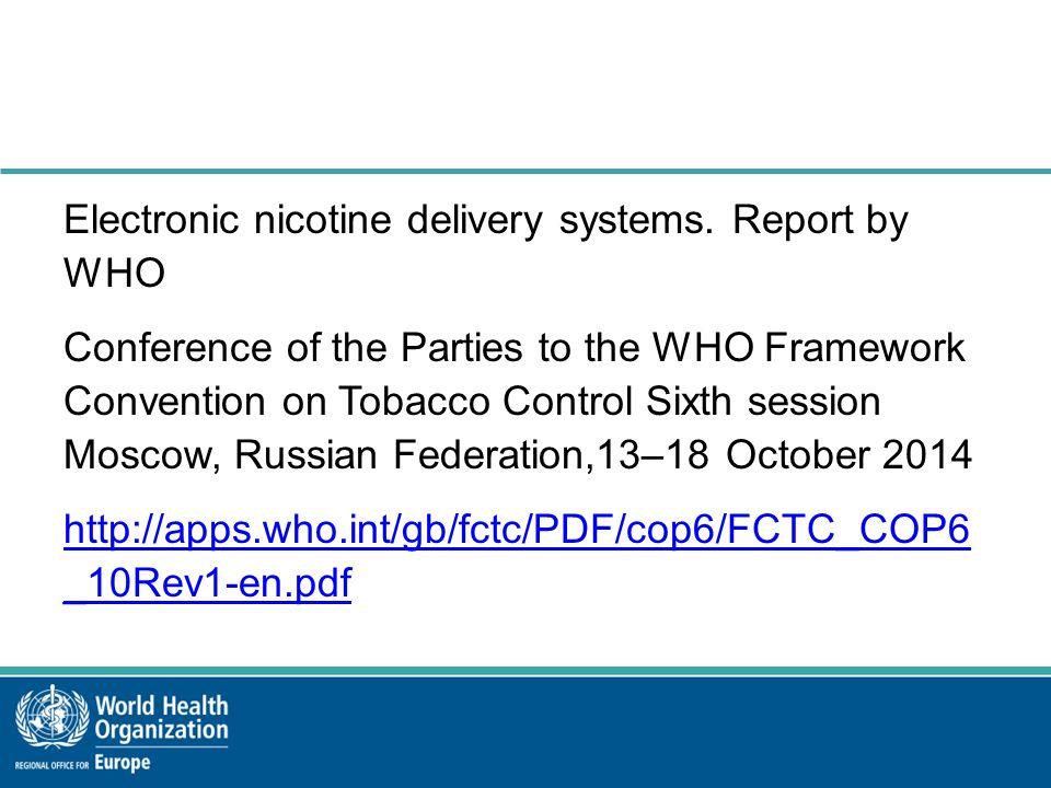 Skuteczność pomocy w rzucaniu palenia i w końcu uzależnienia od nikotyny  Dowody są ograniczone i nie pozwalają na końcowe wnioski;  Jednak, wyniki jedynego randomizowanego badania które porównuje używanie ENDS z plastrami nikotynowymi bez pomocy medycznej w populacji ogólnej wykazały podobną, choć mniejszą skutecznośc w rzucaniu palenia.