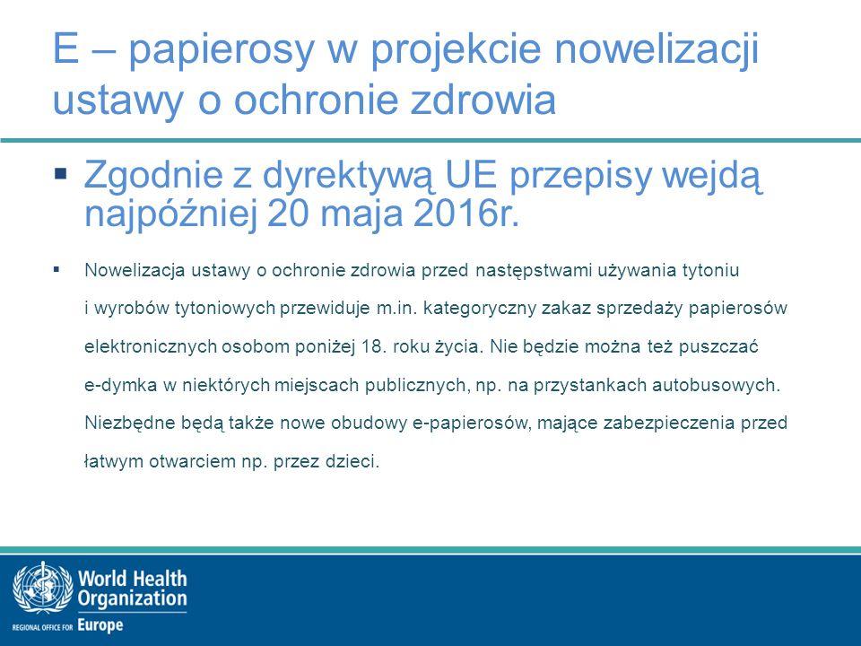 E – papierosy w projekcie nowelizacji ustawy o ochronie zdrowia  Zgodnie z dyrektywą UE przepisy wejdą najpóźniej 20 maja 2016r.