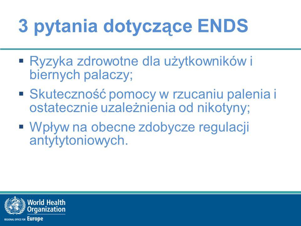 3 pytania dotyczące ENDS  Ryzyka zdrowotne dla użytkowników i biernych palaczy;  Skuteczność pomocy w rzucaniu palenia i ostatecznie uzależnienia od nikotyny;  Wpływ na obecne zdobycze regulacji antytytoniowych.
