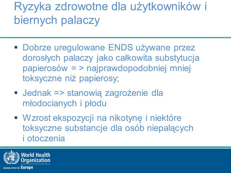 Ryzyka zdrowotne dla użytkowników i biernych palaczy  Dobrze uregulowane ENDS używane przez dorosłych palaczy jako całkowita substytucja papierosów = > najprawdopodobniej mniej toksyczne niż papierosy;  Jednak => stanowią zagrożenie dla młodocianych i płodu  Wzrost ekspozycji na nikotynę i niektóre toksyczne substancje dla osób niepalących i otoczenia