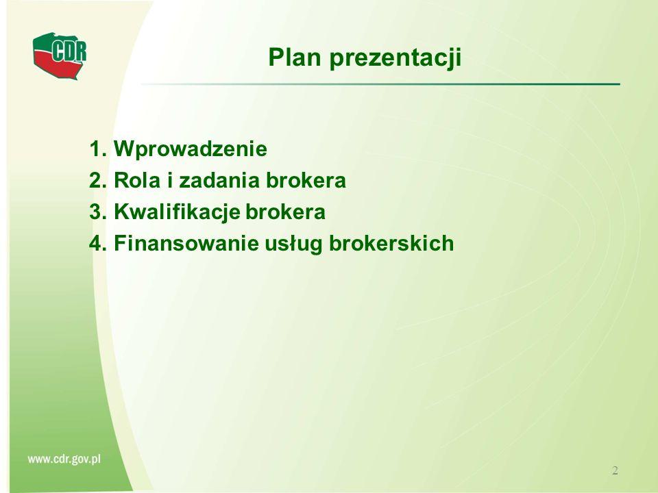 Plan prezentacji 1.Wprowadzenie 2.Rola i zadania brokera 3.Kwalifikacje brokera 4.Finansowanie usług brokerskich 2