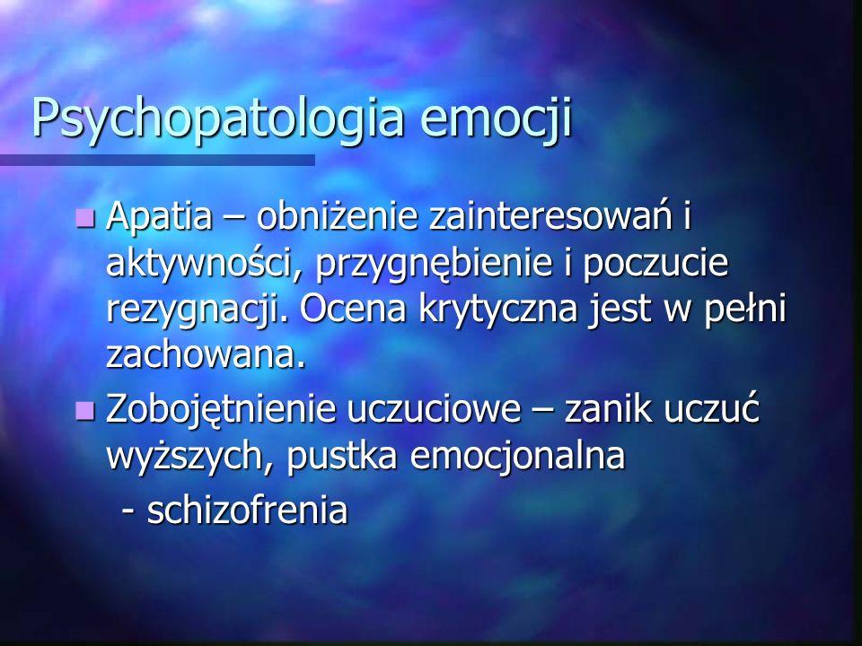 Psychopatologia emocji Dysforia – nastrój drażliwy; obniżony nastrój z tendencją do wygórowanych reakcji emocjonalnych, w postaci wybuchów gniewu i działań agresywnych Dysforia – nastrój drażliwy; obniżony nastrój z tendencją do wygórowanych reakcji emocjonalnych, w postaci wybuchów gniewu i działań agresywnych (padaczka, stany pourazowe, niedorozwój, histeria, z.