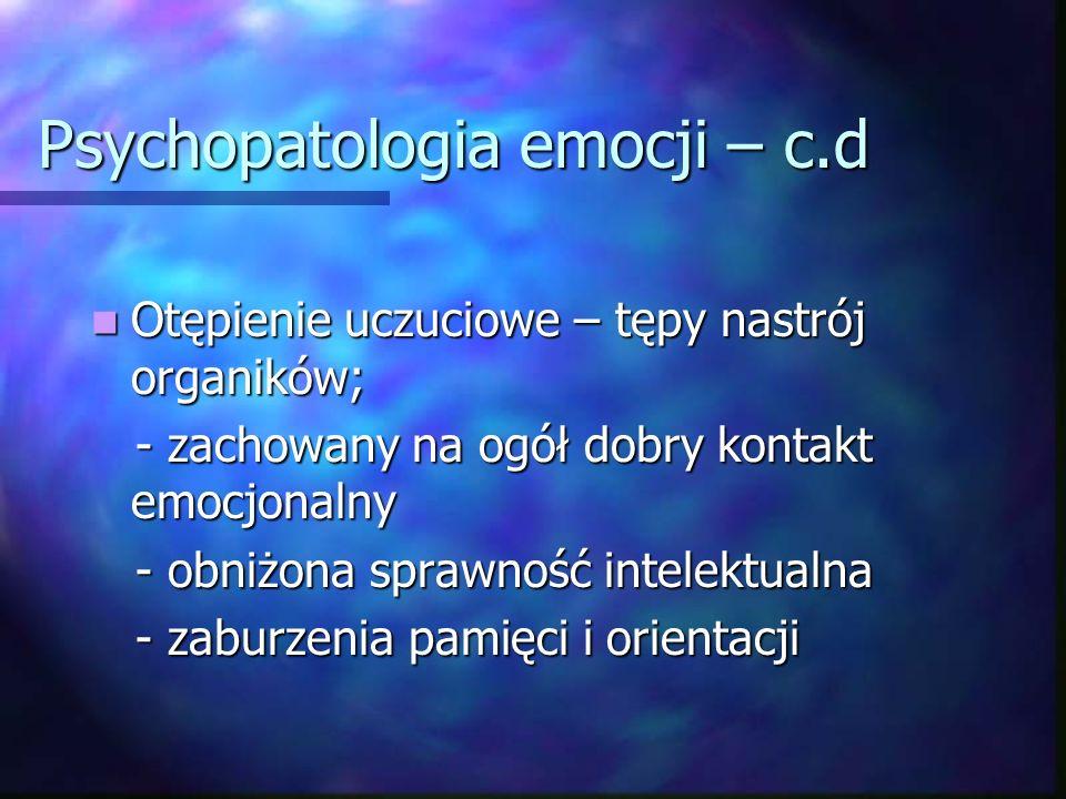 Psychopatologia emocji Apatia – obniżenie zainteresowań i aktywności, przygnębienie i poczucie rezygnacji.