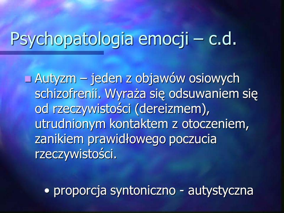 Psychopatologia emocji – c.d Otępienie uczuciowe – tępy nastrój organików; Otępienie uczuciowe – tępy nastrój organików; - zachowany na ogół dobry kontakt emocjonalny - zachowany na ogół dobry kontakt emocjonalny - obniżona sprawność intelektualna - obniżona sprawność intelektualna - zaburzenia pamięci i orientacji - zaburzenia pamięci i orientacji