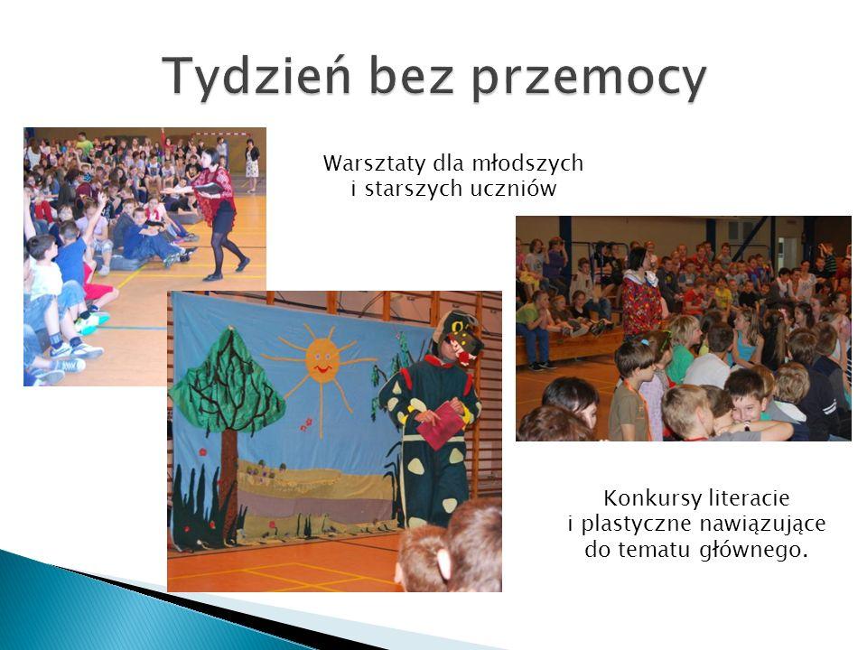 Warsztaty dla młodszych i starszych uczniów Konkursy literacie i plastyczne nawiązujące do tematu głównego.