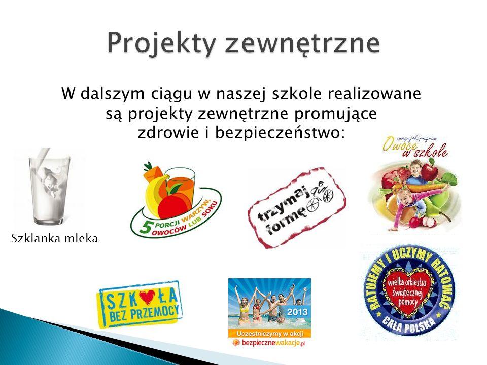 Szklanka mleka W dalszym ciągu w naszej szkole realizowane są projekty zewnętrzne promujące zdrowie i bezpieczeństwo: