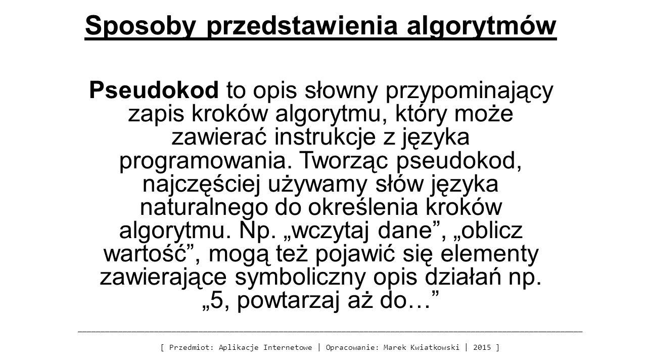 Sposoby przedstawienia algorytmów Pseudokod to opis słowny przypominający zapis kroków algorytmu, który może zawierać instrukcje z języka programowania.