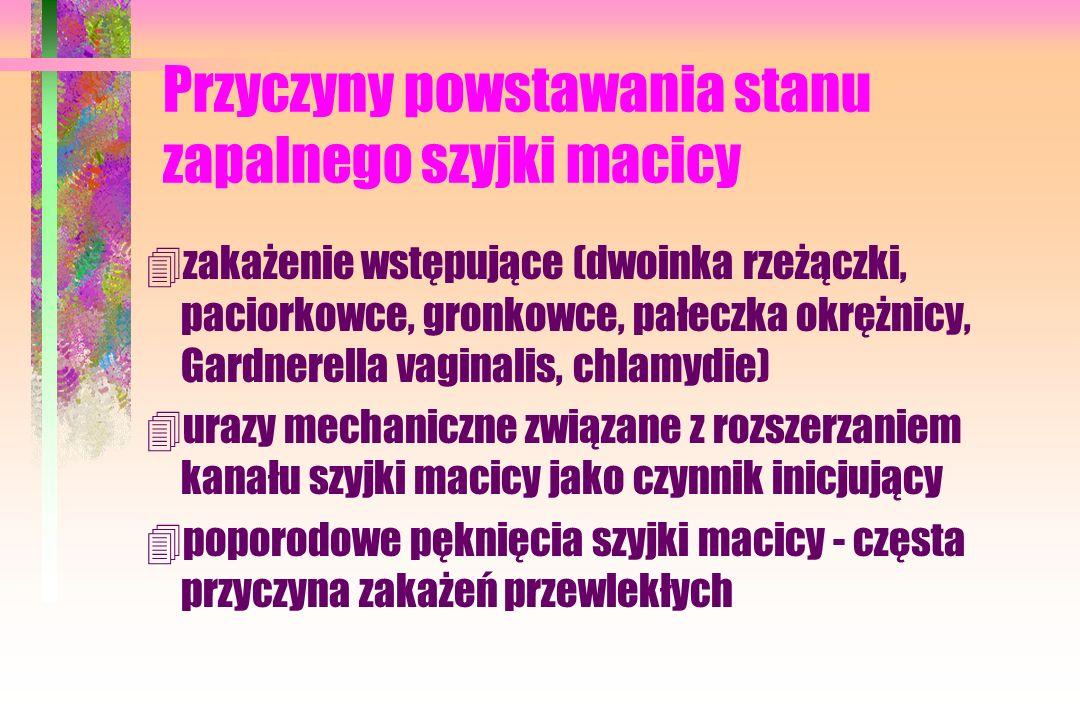 Przyczyny powstawania stanu zapalnego szyjki macicy 4zakażenie wstępujące (dwoinka rzeżączki, paciorkowce, gronkowce, pałeczka okrężnicy, Gardnerella vaginalis, chlamydie) 4urazy mechaniczne związane z rozszerzaniem kanału szyjki macicy jako czynnik inicjujący 4poporodowe pęknięcia szyjki macicy - częsta przyczyna zakażeń przewlekłych