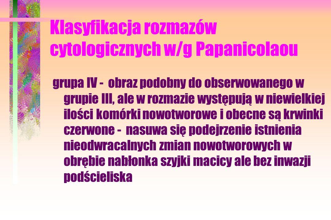 Klasyfikacja rozmazów cytologicznych w/g Papanicolaou grupa IV - obraz podobny do obserwowanego w grupie III, ale w rozmazie występują w niewielkiej ilości komórki nowotworowe i obecne są krwinki czerwone - nasuwa się podejrzenie istnienia nieodwracalnych zmian nowotworowych w obrębie nabłonka szyjki macicy ale bez inwazji podścieliska