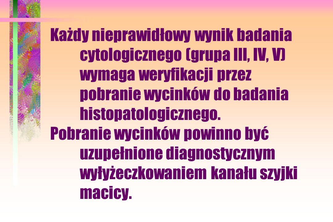 Każdy nieprawidłowy wynik badania cytologicznego (grupa III, IV, V) wymaga weryfikacji przez pobranie wycinków do badania histopatologicznego. Pobrani