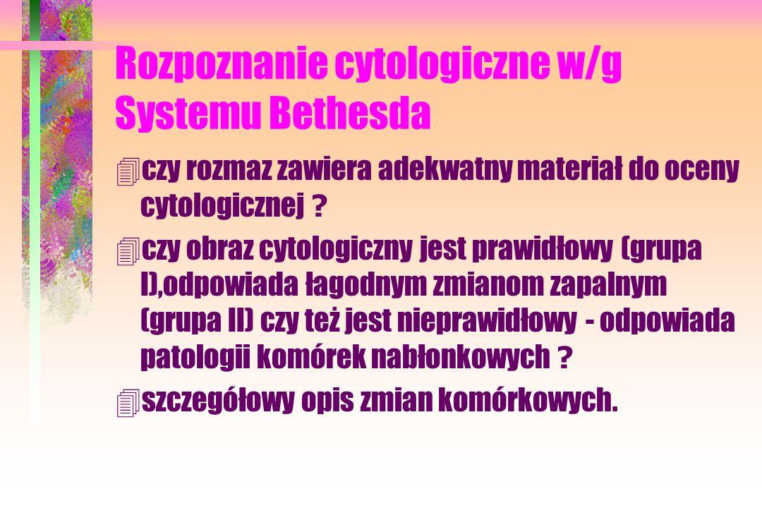 Rozpoznanie cytologiczne w/g Systemu Bethesda  czy rozmaz zawiera adekwatny materiał do oceny cytologicznej .