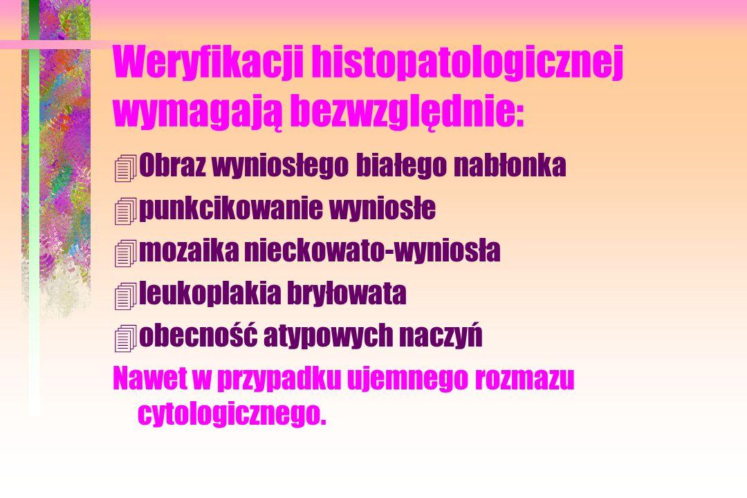 Weryfikacji histopatologicznej wymagają bezwzględnie: 4Obraz wyniosłego białego nabłonka 4punkcikowanie wyniosłe 4mozaika nieckowato-wyniosła 4leukoplakia bryłowata 4obecność atypowych naczyń Nawet w przypadku ujemnego rozmazu cytologicznego.