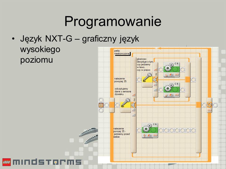 Programowanie Języki zbliżone do C –RobotC, –NXC, –C# (.net + MS Robotics Studio)