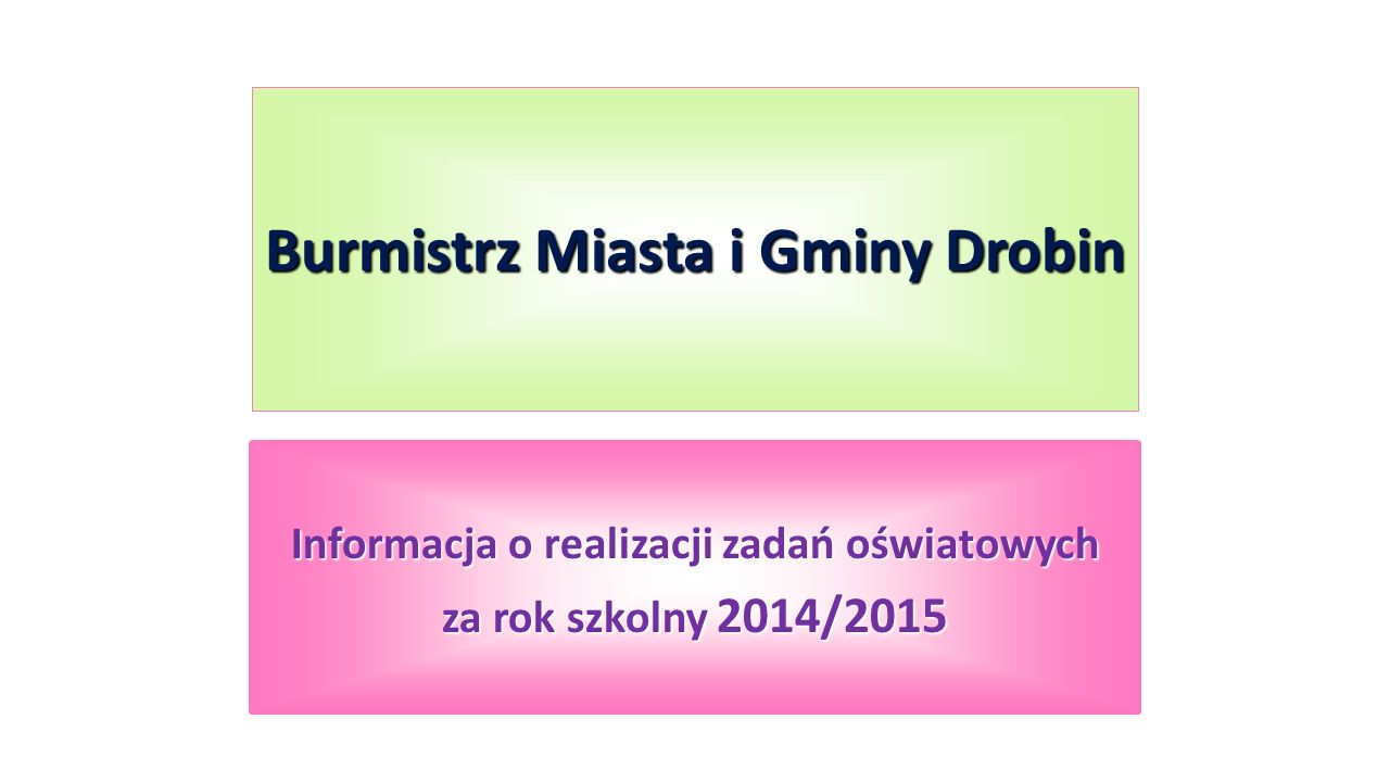 Burmistrz Miasta i Gminy Drobin Informacja o realizacji zadań oświatowych za rok szkolny 2014/2015