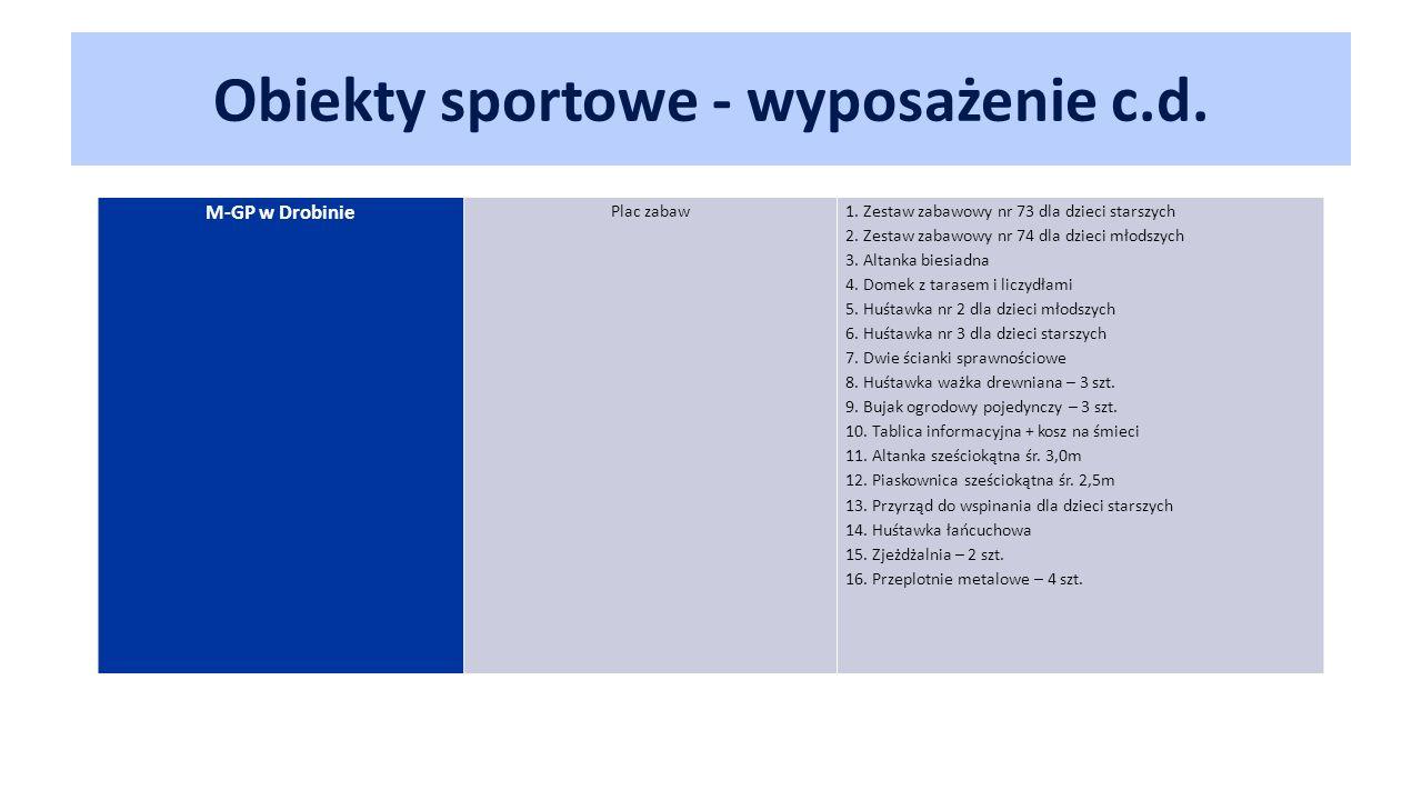 Obiekty sportowe - wyposażenie c.d. M-GP w Drobinie Plac zabaw1.