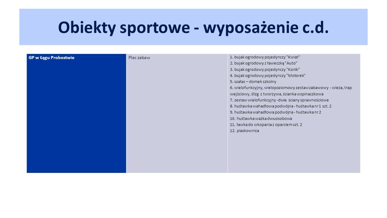 Obiekty sportowe - wyposażenie c.d. GP w Łęgu Probostwie Plac zabaw 1.