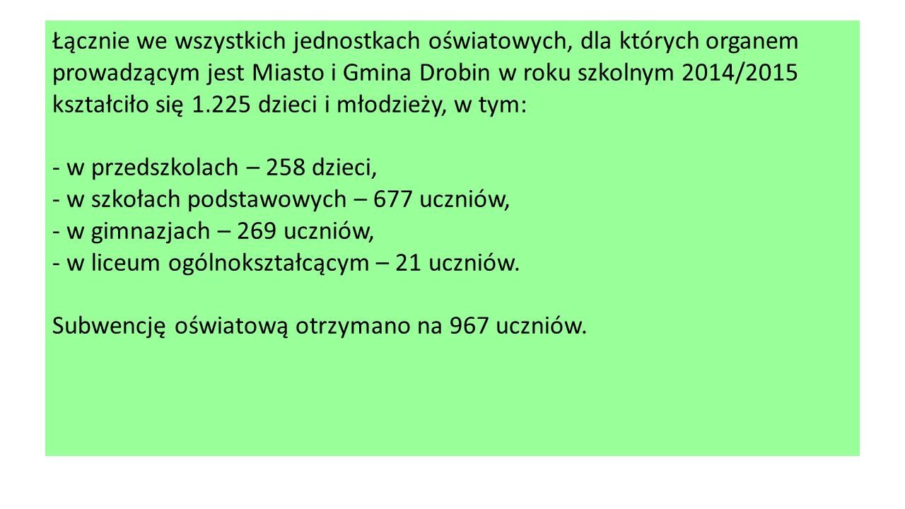Łącznie we wszystkich jednostkach oświatowych, dla których organem prowadzącym jest Miasto i Gmina Drobin w roku szkolnym 2014/2015 kształciło się 1.225 dzieci i młodzieży, w tym: - w przedszkolach – 258 dzieci, - w szkołach podstawowych – 677 uczniów, - w gimnazjach – 269 uczniów, - w liceum ogólnokształcącym – 21 uczniów.