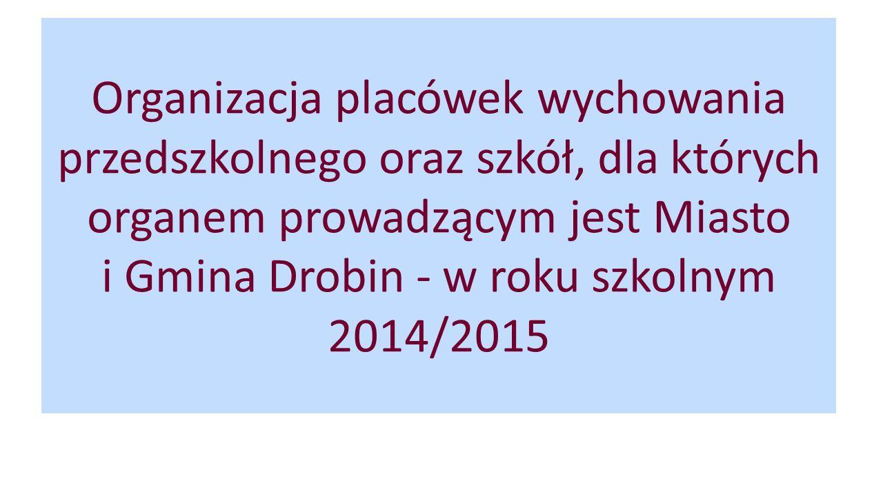 Organizacja placówek wychowania przedszkolnego oraz szkół, dla których organem prowadzącym jest Miasto i Gmina Drobin - w roku szkolnym 2014/2015