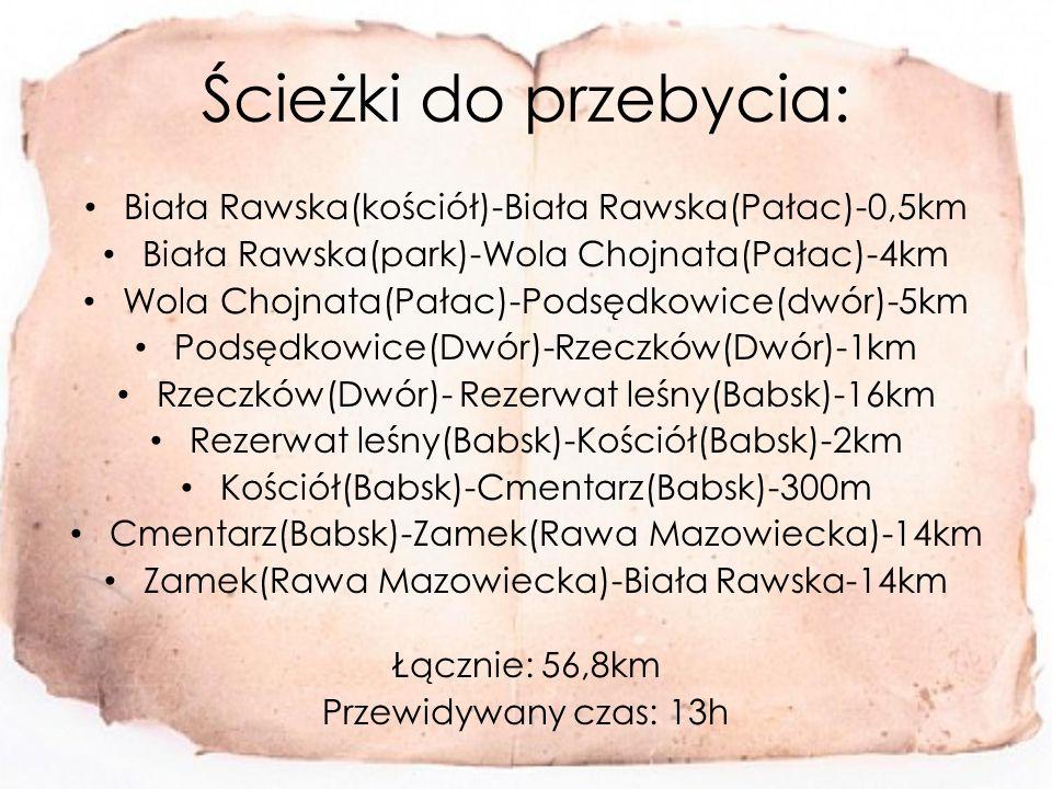 Ścieżki do przebycia: Biała Rawska(kościół)-Biała Rawska(Pałac)-0,5km Biała Rawska(park)-Wola Chojnata(Pałac)-4km Wola Chojnata(Pałac)-Podsędkowice(dwór)-5km Podsędkowice(Dwór)-Rzeczków(Dwór)-1km Rzeczków(Dwór)- Rezerwat leśny(Babsk)-16km Rezerwat leśny(Babsk)-Kościół(Babsk)-2km Kościół(Babsk)-Cmentarz(Babsk)-300m Cmentarz(Babsk)-Zamek(Rawa Mazowiecka)-14km Zamek(Rawa Mazowiecka)-Biała Rawska-14km Łącznie: 56,8km Przewidywany czas: 13h
