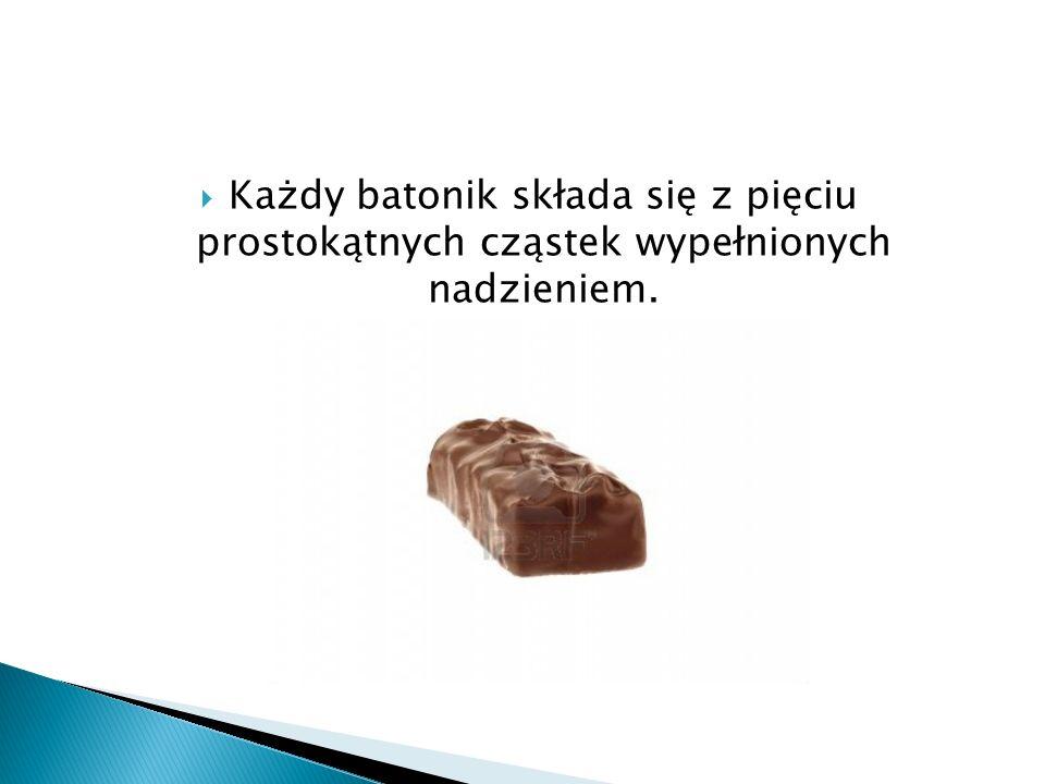  Szczegółowy skład: czekolada mleczna (miazga kakaowa, tłuszcz kakaowy, mleko pełne w proszku, serwatka mleczna w proszku, tłuszcz mleczny, emulgatory- lecytyna sojowa i E476, aromat), cukier, syrop glukozowy, tłuszcz roślinny częściowo utwardzony.