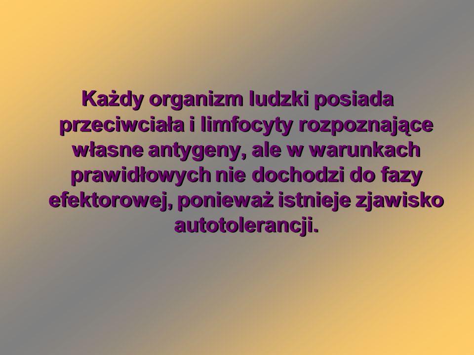 Każdy organizm ludzki posiada przeciwciała i limfocyty rozpoznające własne antygeny, ale w warunkach prawidłowych nie dochodzi do fazy efektorowej, po