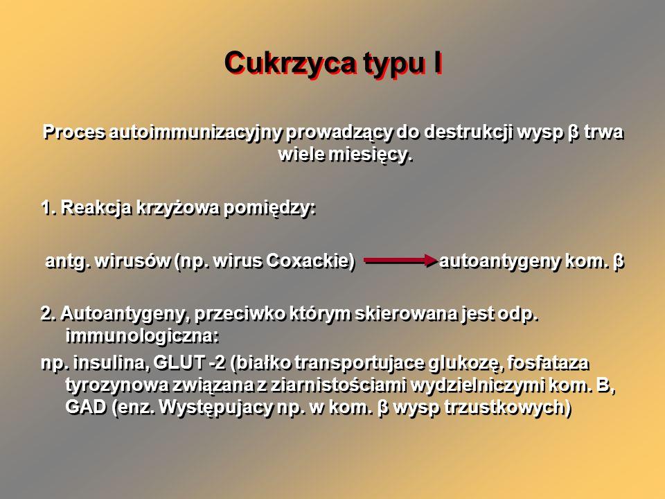 Cukrzyca typu I Proces autoimmunizacyjny prowadzący do destrukcji wysp β trwa wiele miesięcy. 1. Reakcja krzyżowa pomiędzy: antg. wirusów (np. wirus C
