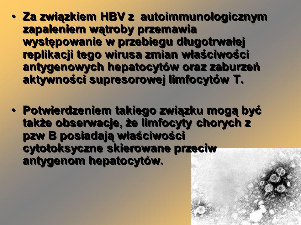 Za związkiem HBV z autoimmunologicznym zapaleniem wątroby przemawia występowanie w przebiegu długotrwałej replikacji tego wirusa zmian właściwości ant