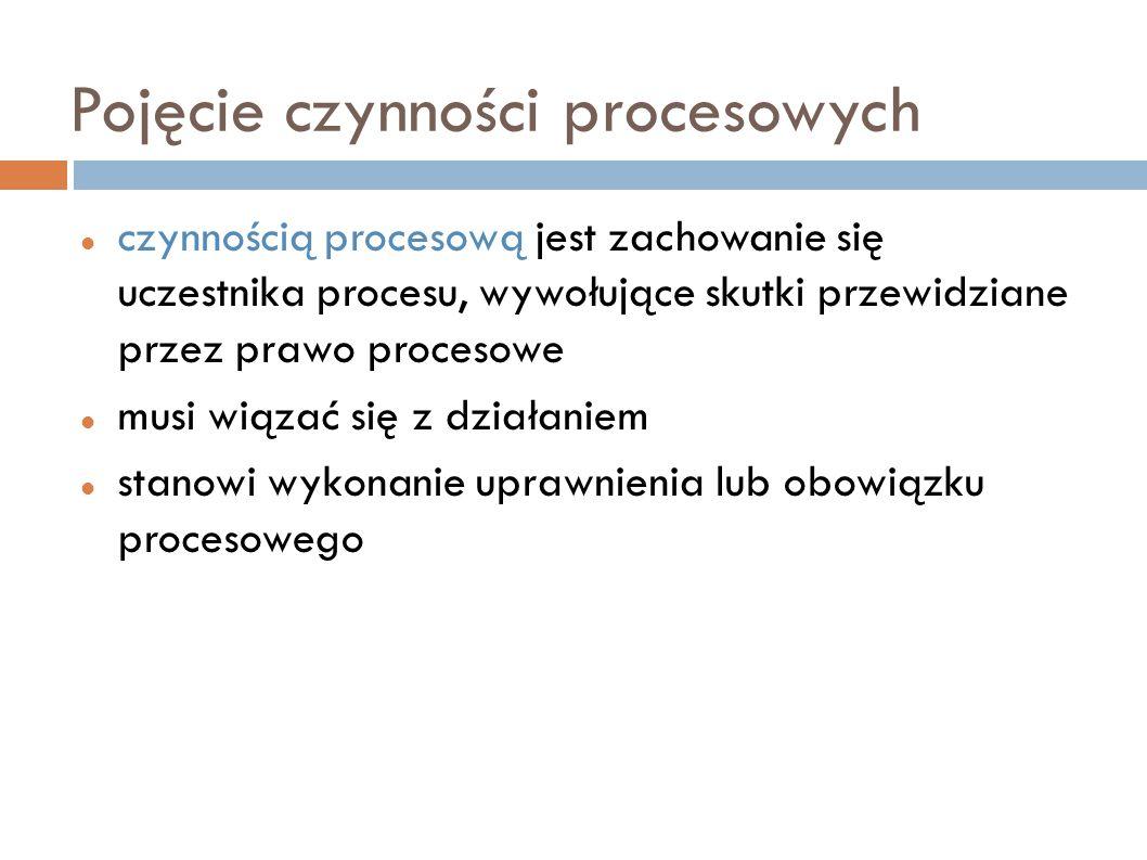 Rodzaje czynności procesowych rozpoznawcze (w celu zbadania i rozstrzygnięcia określonej kwestii) i wykonawcze (w celu wykonania decyzji procesowej) wyraźne i konkludentne czynności organów procesowych, stron procesowych, innych uczestników procesu oświadczenia procesowe (treść intelektualna), spostrzeżenia procesowe (treść zmysłowa: oględziny), czynności realne (zmiany w sytuacji zewnętrznej: przeszukanie)