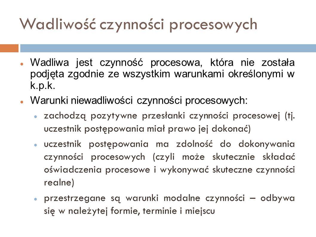 Rodzaje wadliwości nieważność – nie występuje w kpk, bezskuteczność - sankcja procesowa za niedopełnienie obowiązków procesowych lub przesłanek czynności procesowej (np.