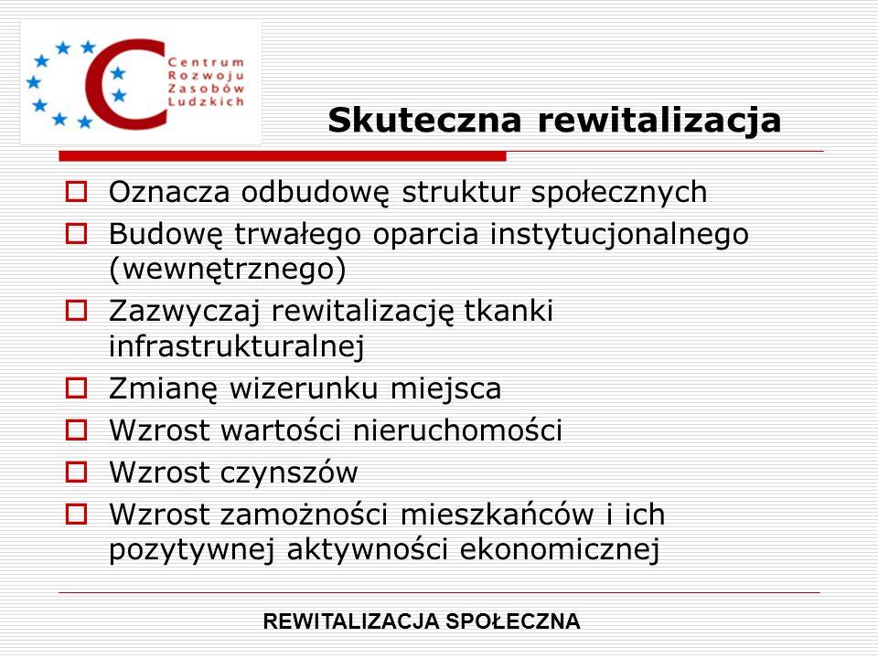 Skuteczna rewitalizacja  Oznacza odbudowę struktur społecznych  Budowę trwałego oparcia instytucjonalnego (wewnętrznego)  Zazwyczaj rewitalizację t