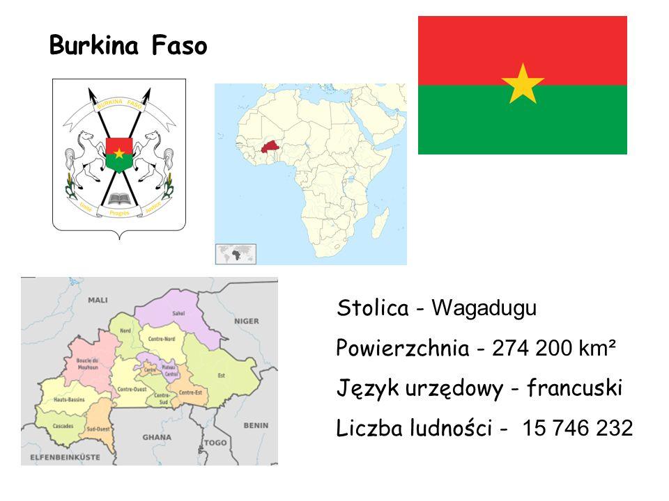 Burkina Faso Stolica - Wagadugu Powierzchnia - 274 200 km² Język urzędowy - francuski Liczba ludności - 15 746 232
