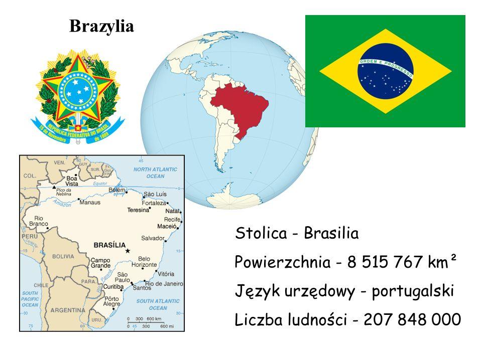 Brazylia Stolica - Brasilia Powierzchnia - 8 515 767 km² Język urzędowy - portugalski Liczba ludności - 207 848 000