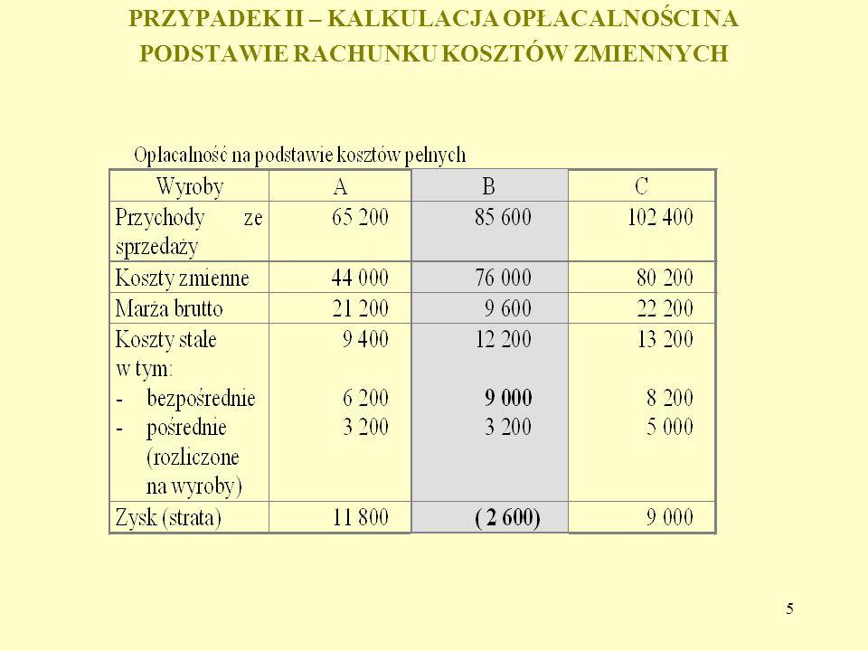 6 Schemat liczenia zysków i strat w wyniku rezygnacji z produkcji wyrobu przy oszczędnościach (redukcji) na kosztach stałych: - Strata spowodowana utratą przychodów + Zyski wynikające z redukcji kosztów zmiennych = Utracona marża brutto + Zyski wynikające z redukcji (oszczędności) kosztów stałych = Zysk lub strata w wyniku rezygnacji z produkcji wyrobu Zysku lub strata wskazuje i ile zmieni się wynik finansowy w stosunku do aktualnego wyniku.