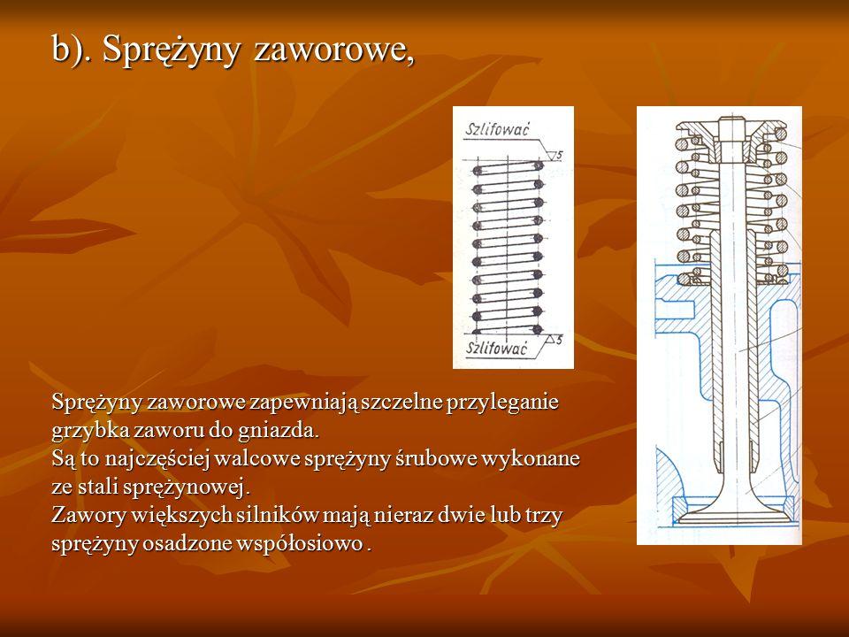 b). Sprężyny zaworowe, Sprężyny zaworowe zapewniają szczelne przyleganie grzybka zaworu do gniazda. Są to najczęściej walcowe sprężyny śrubowe wykonan