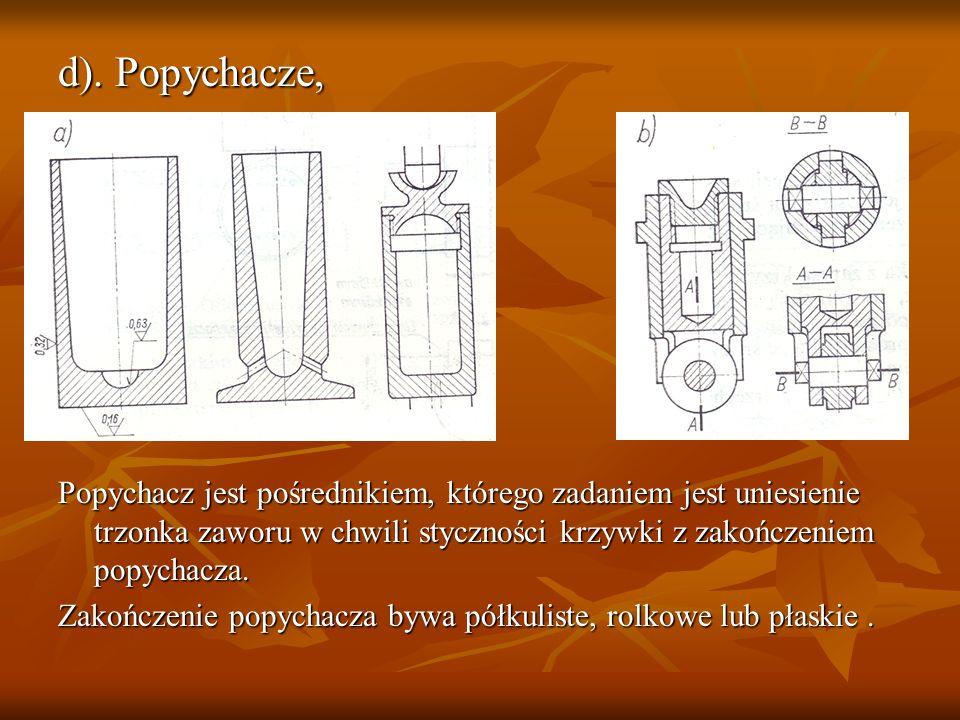 d). Popychacze, Popychacz jest pośrednikiem, którego zadaniem jest uniesienie trzonka zaworu w chwili styczności krzywki z zakończeniem popychacza. Za