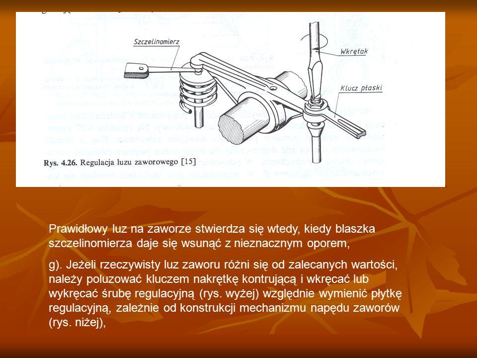 Prawidłowy luz na zaworze stwierdza się wtedy, kiedy blaszka szczelinomierza daje się wsunąć z nieznacznym oporem, g). Jeżeli rzeczywisty luz zaworu r