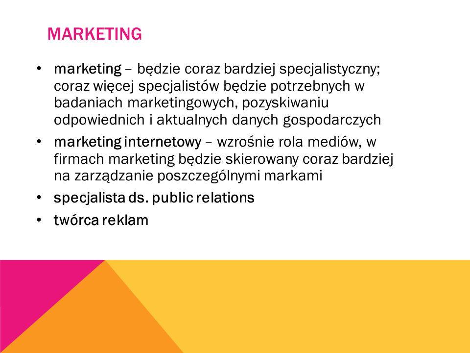 MARKETING marketing – będzie coraz bardziej specjalistyczny; coraz więcej specjalistów będzie potrzebnych w badaniach marketingowych, pozyskiwaniu odpowiednich i aktualnych danych gospodarczych marketing internetowy – wzrośnie rola mediów, w firmach marketing będzie skierowany coraz bardziej na zarządzanie poszczególnymi markami specjalista ds.