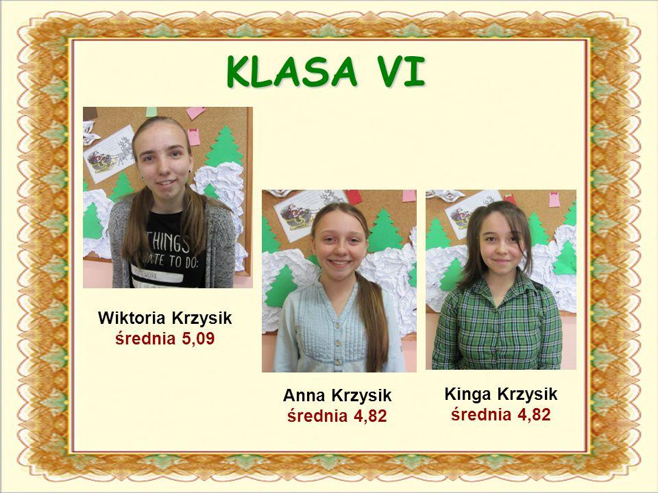 KLASA VI Wiktoria Krzysik średnia 5,09 Anna Krzysik średnia 4,82 Kinga Krzysik średnia 4,82
