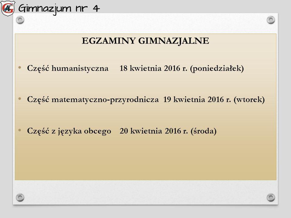 EGZAMINY GIMNAZJALNE Część humanistyczna18 kwietnia 2016 r.