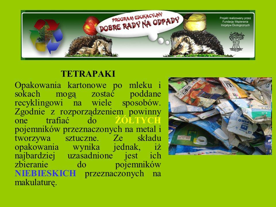 TETRAPAKI Opakowania kartonowe po mleku i sokach mogą zostać poddane recyklingowi na wiele sposobów.