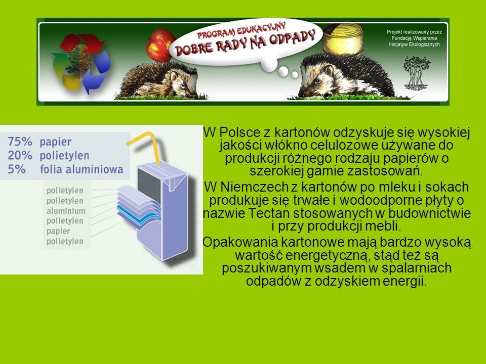 W Polsce z kartonów odzyskuje się wysokiej jakości włókno celulozowe używane do produkcji różnego rodzaju papierów o szerokiej gamie zastosowań.