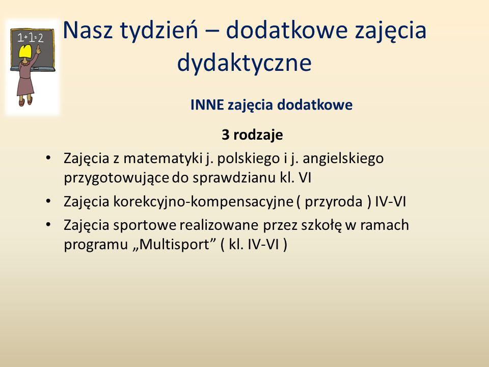 Nasz tydzień – dodatkowe zajęcia dydaktyczne INNE zajęcia dodatkowe 3 rodzaje Zajęcia z matematyki j. polskiego i j. angielskiego przygotowujące do sp