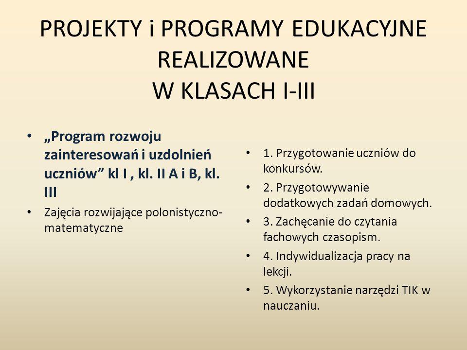 """PROJEKTY i PROGRAMY EDUKACYJNE REALIZOWANE W KLASACH I-III """"Program rozwoju zainteresowań i uzdolnień uczniów kl I, kl."""