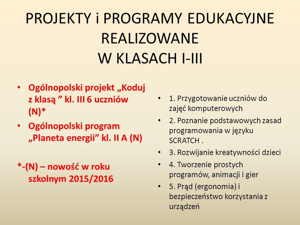"""PROJEKTY i PROGRAMY EDUKACYJNE REALIZOWANE W KLASACH I-III Ogólnopolski projekt """"Koduj z klasą kl."""